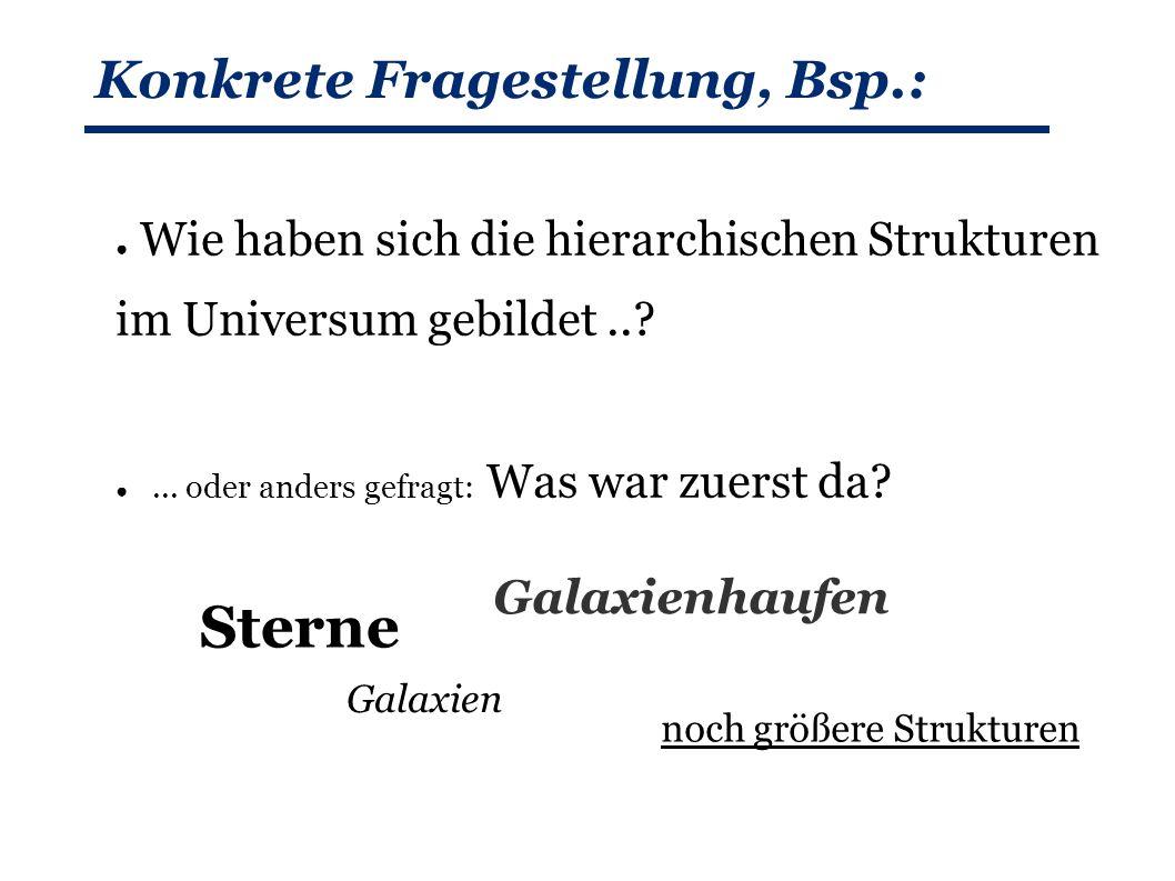 Konkrete Fragestellung, Bsp.: ● Wie haben sich die hierarchischen Strukturen im Universum gebildet...
