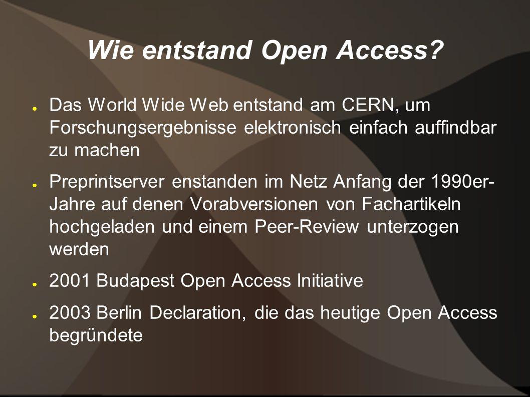 Wie entstand Open Access.