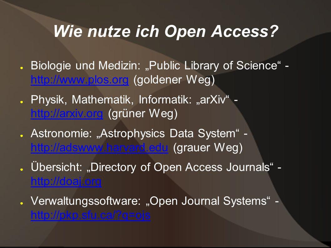 Wie nutze ich Open Access.