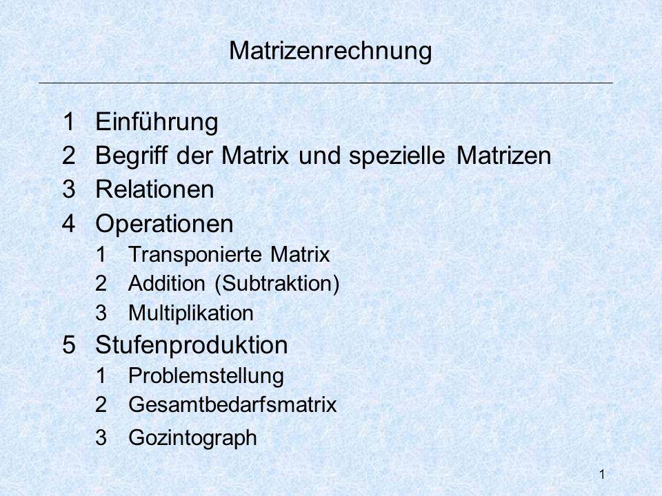 1 Matrizenrechnung 1Einführung 2Begriff der Matrix und spezielle Matrizen 3Relationen 4Operationen 1Transponierte Matrix 2Addition (Subtraktion) 3Multiplikation 5Stufenproduktion 1Problemstellung 2Gesamtbedarfsmatrix 3Gozintograph