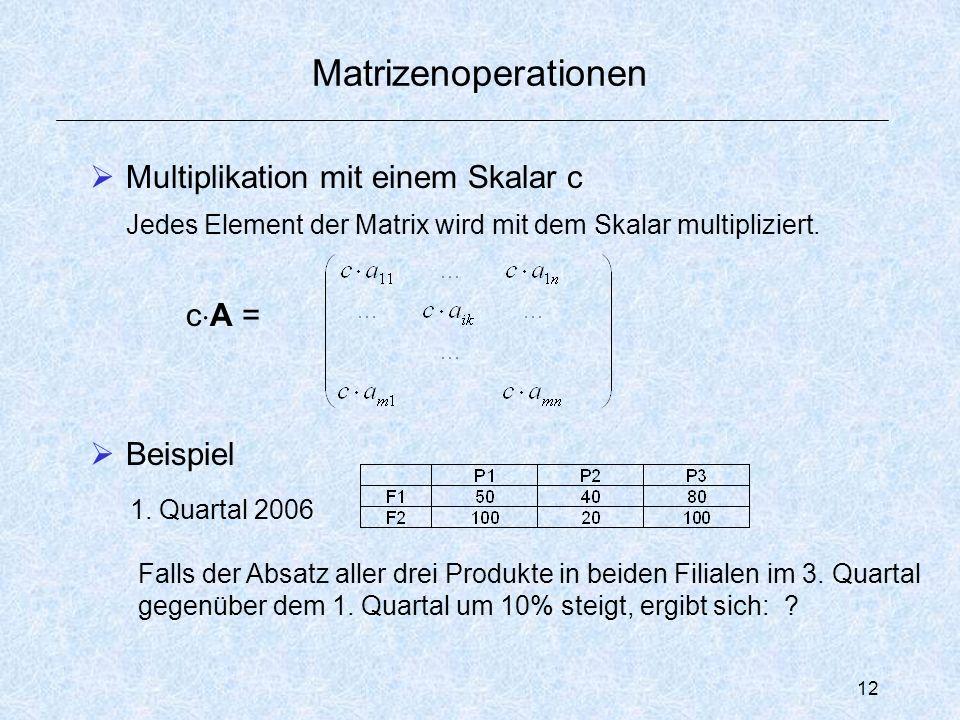 12 Matrizenoperationen  Multiplikation mit einem Skalar c Jedes Element der Matrix wird mit dem Skalar multipliziert.