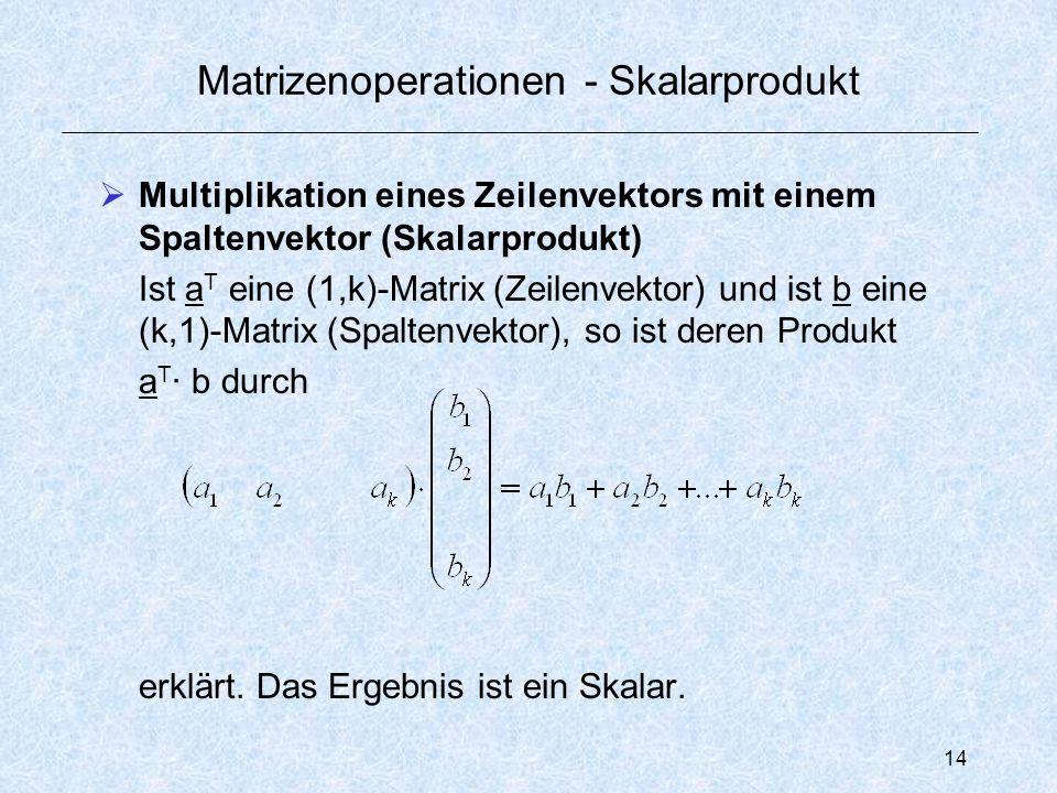 14 Matrizenoperationen - Skalarprodukt  Multiplikation eines Zeilenvektors mit einem Spaltenvektor (Skalarprodukt) Ist a T eine (1,k)-Matrix (Zeilenvektor) und ist b eine (k,1)-Matrix (Spaltenvektor), so ist deren Produkt a T · b durch erklärt.