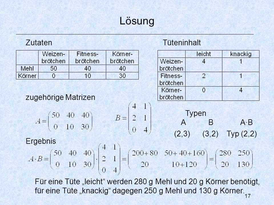 """17 Lösung ZutatenTüteninhalt zugehörige Matrizen Ergebnis Für eine Tüte """"leicht werden 280 g Mehl und 20 g Körner benötigt, für eine Tüte """"knackig dagegen 250 g Mehl und 130 g Körner."""