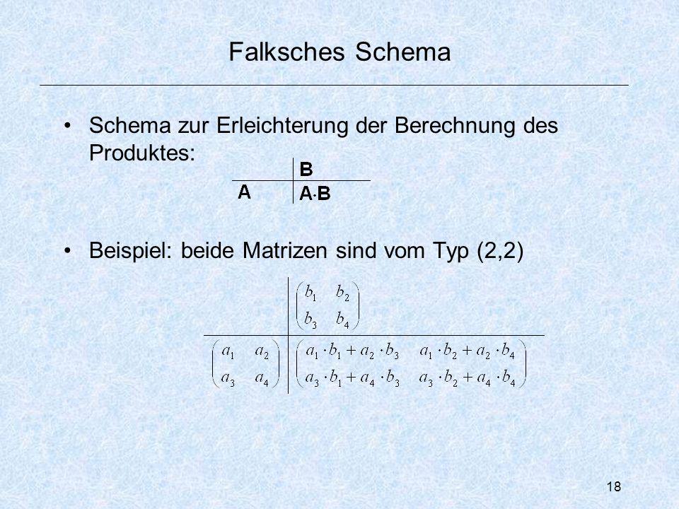 18 Falksches Schema Schema zur Erleichterung der Berechnung des Produktes: Beispiel: beide Matrizen sind vom Typ (2,2)