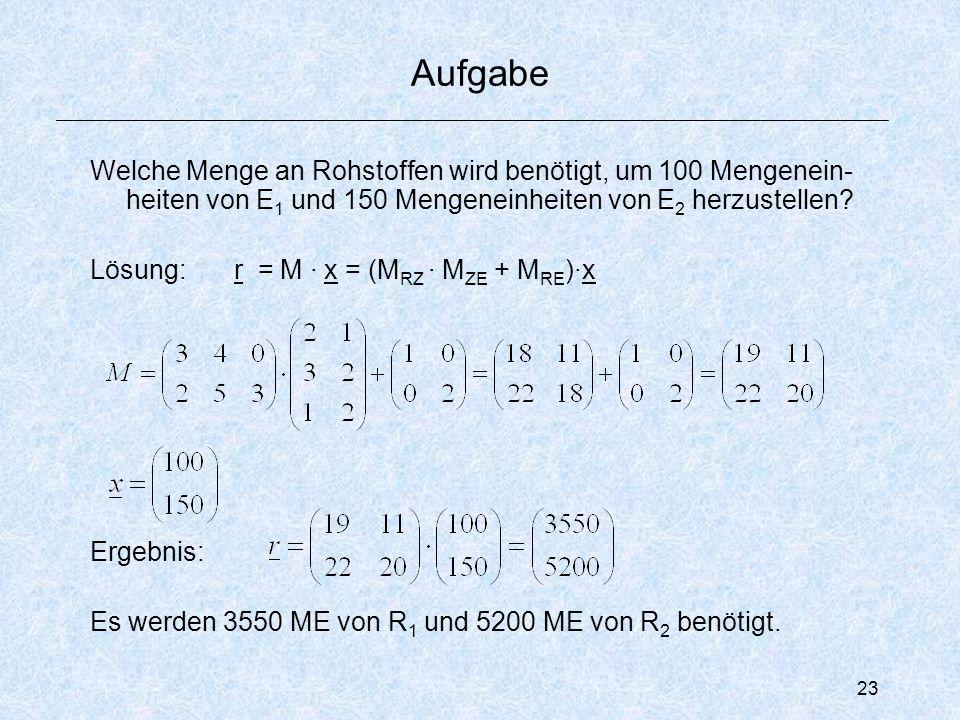 23 Aufgabe Welche Menge an Rohstoffen wird benötigt, um 100 Mengenein- heiten von E 1 und 150 Mengeneinheiten von E 2 herzustellen.