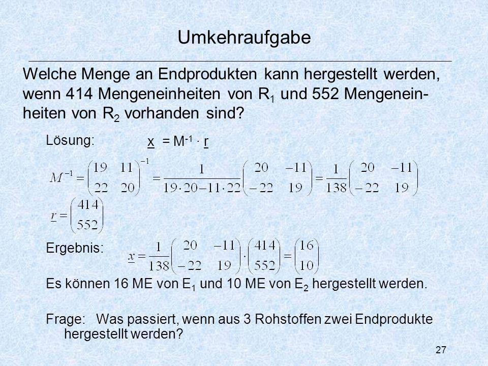 27 Umkehraufgabe Lösung: Ergebnis: Es können 16 ME von E 1 und 10 ME von E 2 hergestellt werden.