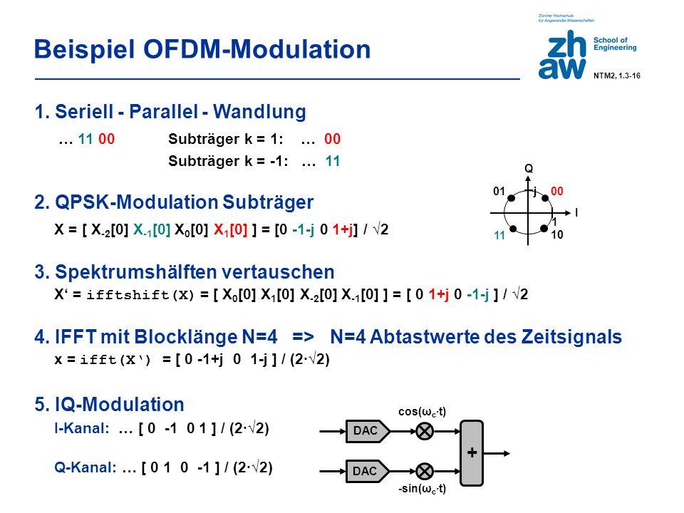1. Seriell - Parallel - Wandlung … 11 00 Subträger k = 1: … 00 Subträger k = -1: … 11 2. QPSK-Modulation Subträger X = [ X -2 [0] X -1 [0] X 0 [0] X 1
