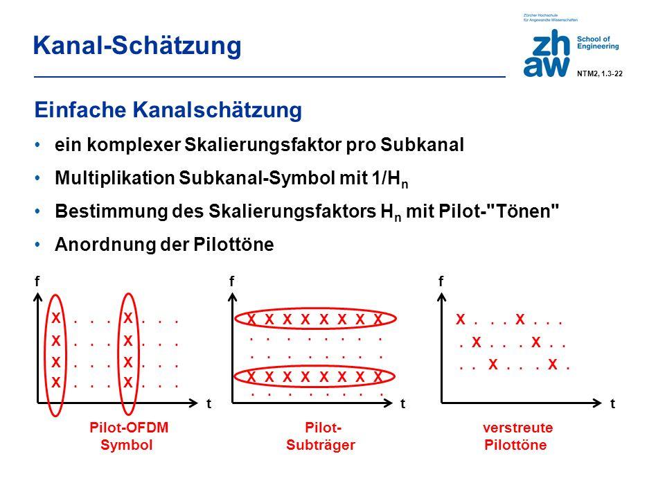 Kanal-Schätzung Einfache Kanalschätzung ein komplexer Skalierungsfaktor pro Subkanal Multiplikation Subkanal-Symbol mit 1/H n Bestimmung des Skalierungsfaktors H n mit Pilot- Tönen Anordnung der Pilottöne t f X...