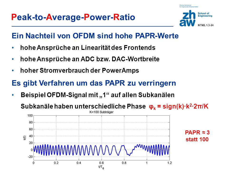 … 0011 1001 11 1010 0111 10 1101 0110 00 … f Symbol m-1Symbol mSymbol m+1 Tone 1 Tone 2 Tone 3 Tone 1 Tone 2 Tone 3 Tone 1 Tone 2 Tone 3 Δf Tone 1 2Δf Tone 2 3Δf Tone 3 DC Tone 0 FDM with N = 4 channels: Data Sequence SNR QAM16 QAM4 unmodulated Discrete-Multi-Tone Transmission (xDSL) Allgemeiner Vorteil von OFDM Jeder Subträger kann optimal parametrisiert werden bezüglich Signal-Konstellation, Energie und Fehlerschutz.