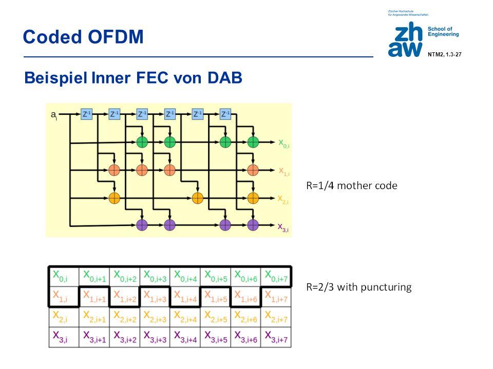 SNR für QAM (für BER < 10 -5 auf AWGN-Kanal): 10 dB with QPSK (2 Bits/Symbol) 15 dB with QAM16 (4 Bits/Symbol) 20 dB with QAM64 (6 Bits/Symbol) SNR > SNR QAM – FEC-Gain Coded OFDM FEC-Gain (für soft-decision Faltungscodierung mit 64 Zuständen auf AWGN-Kanal): 4 dB @ Rate 3/4 5-6 dB @ Rate 1/2…1/3 Beispiel DAB: SNR DQPSK ≈ 11 dB, Coding Gain ≈ 5 dB => SNR > 6 dB NTM2, 1.3-28