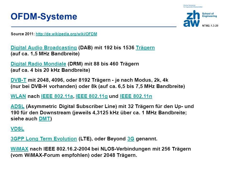 P max = 100 mW (20 dBm) ETSI bandwidth 802.11b (bandwidth 802.11g = 16-20 MHz) only ETSI/Japan for 802.11b/g at least 5 channels spacing Beispiel WLAN: PHY – 802.11g NTM2, 1.3-30