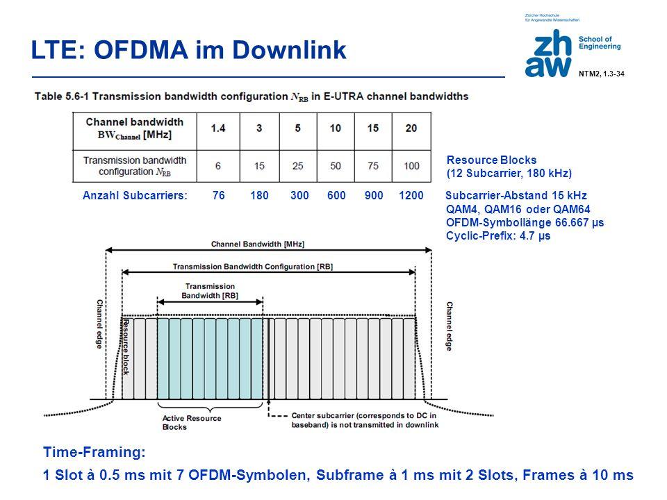 LTE: OFDMA im Downlink Resource Blocks (12 Subcarrier, 180 kHz) Anzahl Subcarriers: 76 180 300 600 900 1200 Subcarrier-Abstand 15 kHz QAM4, QAM16 oder