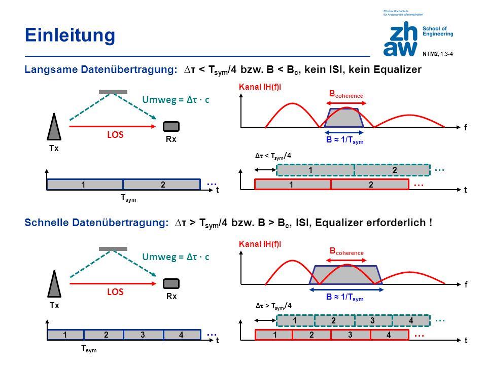 Einleitung NTM2, 1.3-4 1 2 t T sym t ∆τ < T sym /4 1 2 Umweg = Δτ ∙ c LOS Tx Rx B ≈ 1/T sym … … … B coherence Kanal IH(f)I f Langsame Datenübertragung