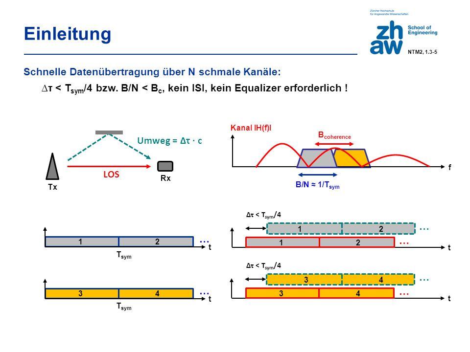OFDM parallele Übertragung über N Teilkanäle je schmaler als B coherence => kein frequenzselektives Fading =>kein teurer channel-equalizer Teilkanäle überlappen sich im Spektrum => sind aber trotzdem orthogonal => hohe spektrale Effizienz effiziente Realisierung mit der FFT =>Aufwand ~ N∙log 2 (N) Einleitung NTM2, 1.3-6