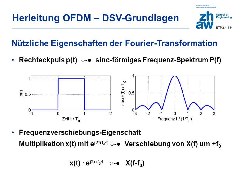 Herleitung OFDM – DSV-Grundlagen Nützliche Eigenschaften der Fourier-Transformation Rechteckpuls p(t) ○-● sinc-förmiges Frequenz-Spektrum P(f) Frequenzverschiebungs-Eigenschaft Multiplikation x(t) mit e j2πf o ·t ○-● Verschiebung von X(f) um +f 0 x(t) · e j2πf ·t ○-● X(f-f 0 ) 0 NTM2, 1.3-9