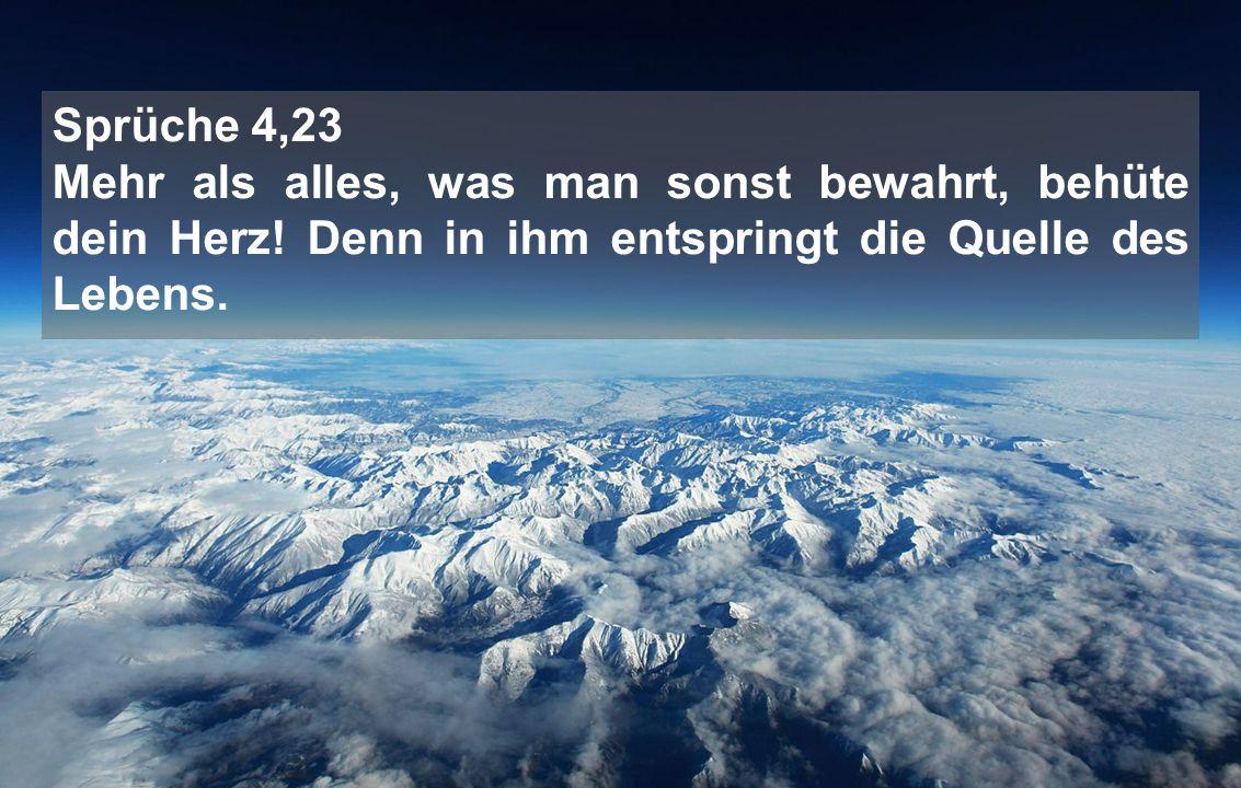 Sprüche 4,23 Mehr als alles, was man sonst bewahrt, behüte dein Herz! Denn in ihm entspringt die Quelle des Lebens.