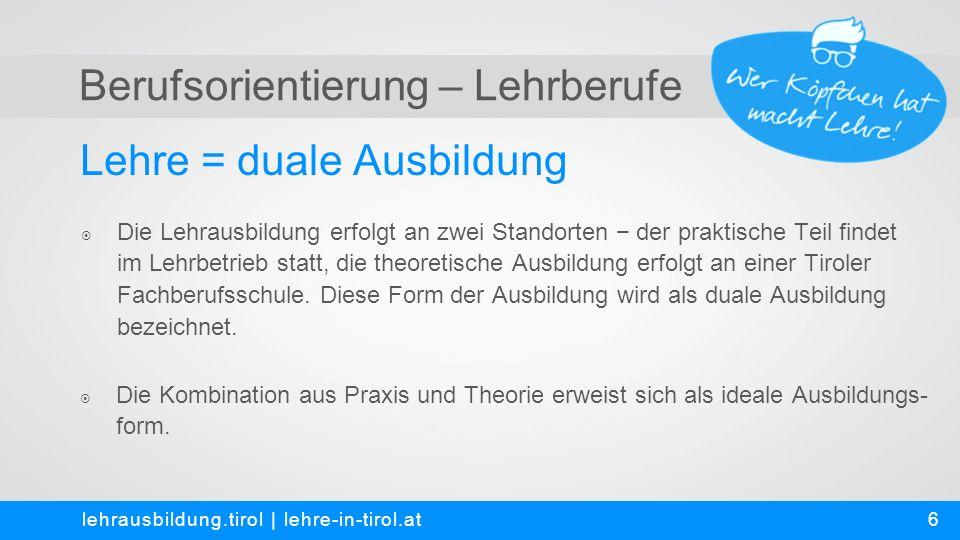 Berufsorientierung – Lehrberufe Fakten-Check – Aussagen zur Lehre lehrausbildung.tirol   lehre-in-tirol.at  Richtig.