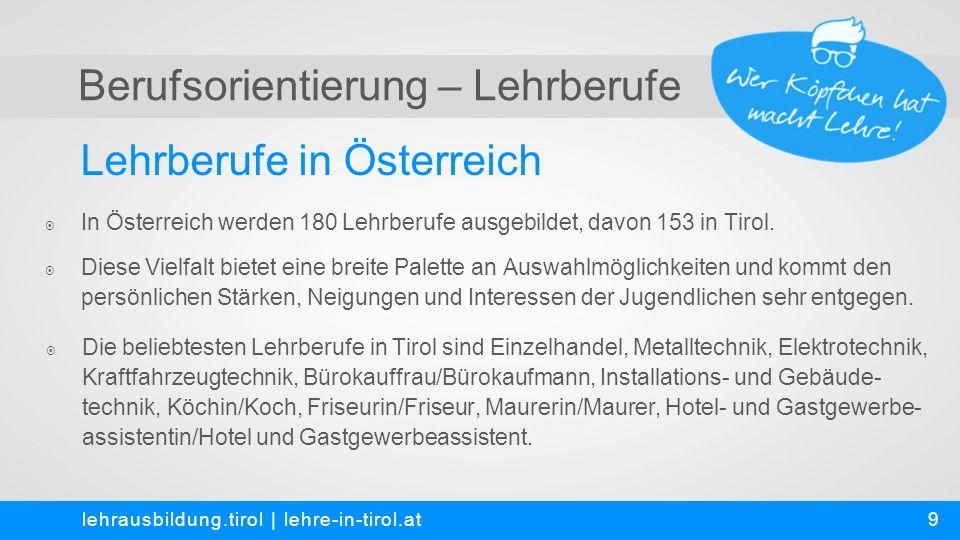 Berufsorientierung – Lehrberufe Kontakt und Anmeldung lehrausbildung.tirol   lehre-in-tirol.at  Martin Bichler MSc – Landesschulrat für Tirol Innrain 1, 6020 Innsbruck T +43 512 520 33-352 (vormittags) oder -201 (nachmittags) E m.bichler@lsr-t.gv.at  Mag.