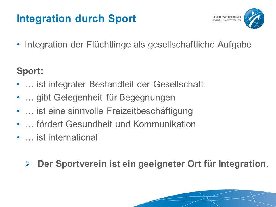Integration durch Sport Integration der Flüchtlinge als gesellschaftliche Aufgabe Sport: … ist integraler Bestandteil der Gesellschaft … gibt Gelegenheit für Begegnungen … ist eine sinnvolle Freizeitbeschäftigung … fördert Gesundheit und Kommunikation … ist international  Der Sportverein ist ein geeigneter Ort für Integration.