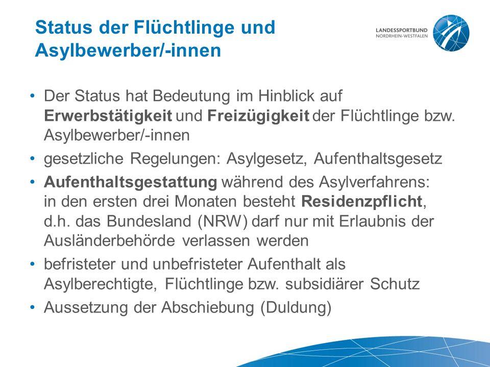 Status der Flüchtlinge und Asylbewerber/-innen Der Status hat Bedeutung im Hinblick auf Erwerbstätigkeit und Freizügigkeit der Flüchtlinge bzw.