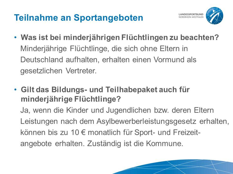 Teilnahme an Sportangeboten Was ist bei minderjährigen Flüchtlingen zu beachten.