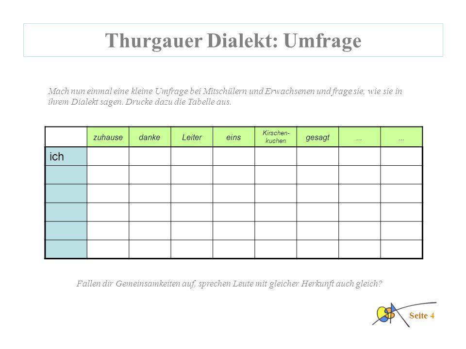 Thurgauer Dialekt: Umfrage Seite 4 Mach nun einmal eine kleine Umfrage bei Mitschülern und Erwachsenen und frage sie, wie sie in ihrem Dialekt sagen.