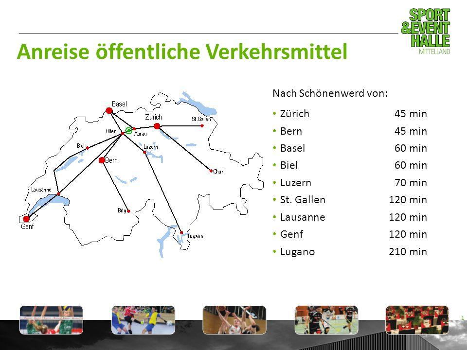 Anreise öffentliche Verkehrsmittel Nach Schönenwerd von: Zürich45 min Bern45 min Basel60 min Biel60 min Luzern70 min St. Gallen120 min Lausanne120 min