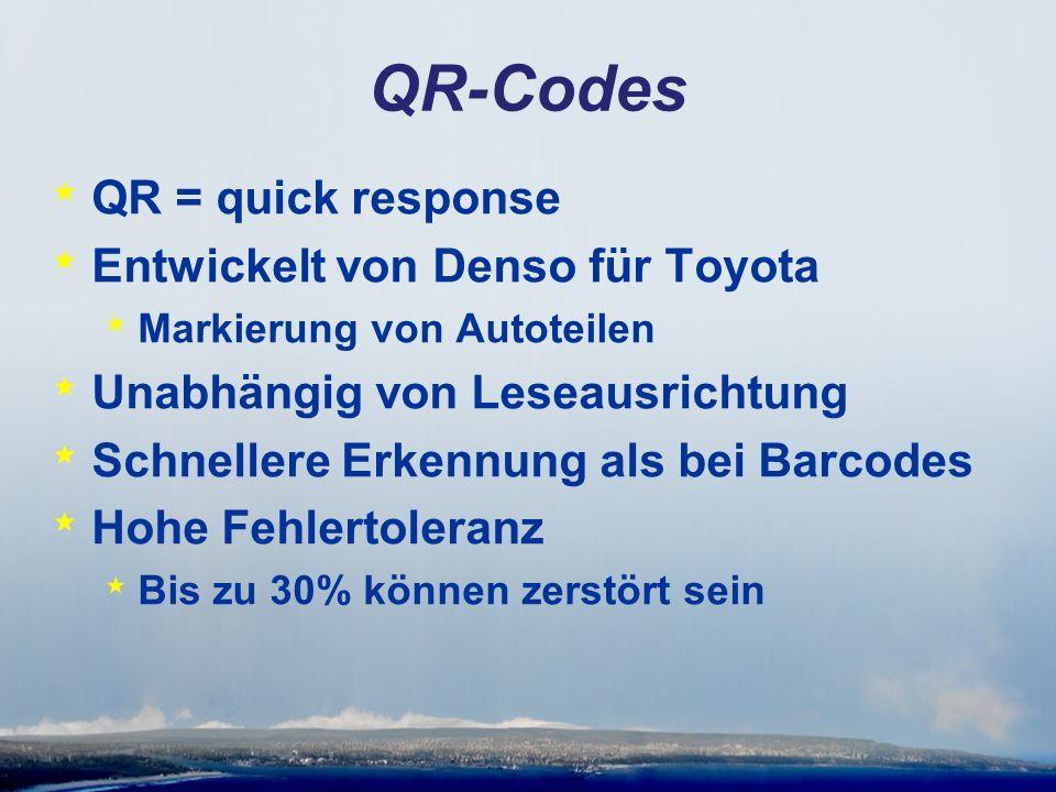 QR-Codes * QR = quick response * Entwickelt von Denso für Toyota * Markierung von Autoteilen * Unabhängig von Leseausrichtung * Schnellere Erkennung als bei Barcodes * Hohe Fehlertoleranz * Bis zu 30% können zerstört sein