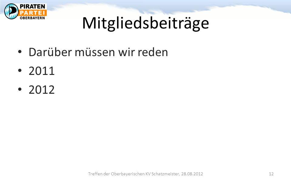 Mitgliedsbeiträge Darüber müssen wir reden 2011 2012 Treffen der Oberbayerischen KV Schatzmeister, 28.08.2012 12