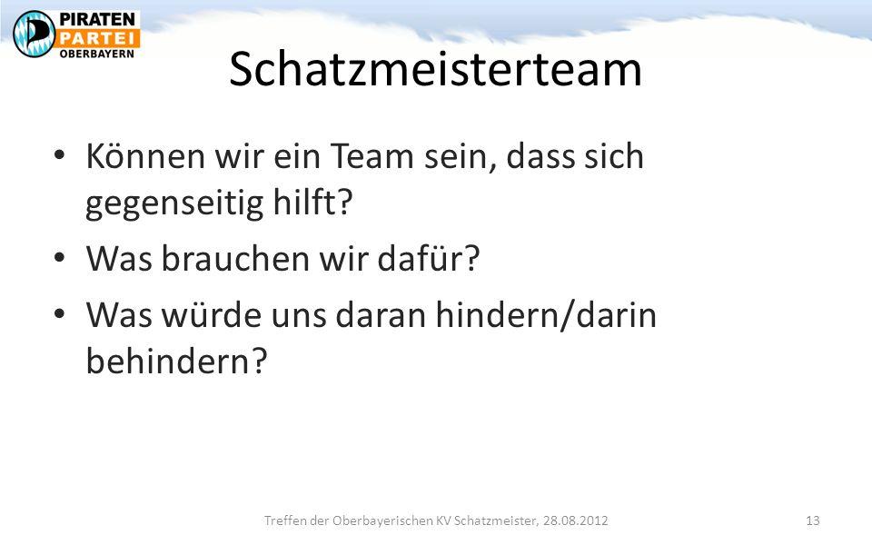 Schatzmeisterteam Können wir ein Team sein, dass sich gegenseitig hilft.
