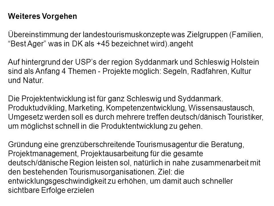 Weiteres Vorgehen Übereinstimmung der landestourismuskonzepte was Zielgruppen (Familien, Best Ager was in DK als +45 bezeichnet wird).angeht Auf hintergrund der USP's der region Syddanmark und Schleswig Holstein sind als Anfang 4 Themen - Projekte möglich: Segeln, Radfahren, Kultur und Natur.
