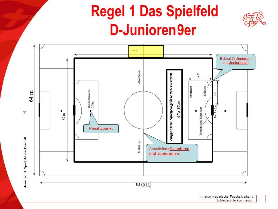 Innerschweizerischer Fussballverband Schiedsrichterkommission Regel 1 Das Spielfeld D-Junioren 9er Penaltypunkt Abseitslinie D-Junioren und Juniorinnen Eckball D-Junioren und Juniorinnen