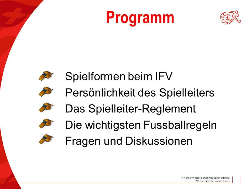 Schiedsrichterkommission Programm Spielformen beim IFV Persönlichkeit des Spielleiters Das Spielleiter-Reglement Die wichtigsten Fussballregeln Fragen und Diskussionen