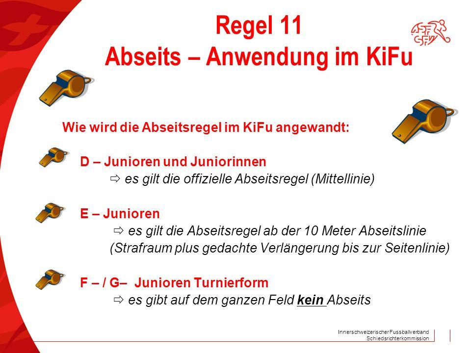 Innerschweizerischer Fussballverband Schiedsrichterkommission Regel 11 Abseits – Anwendung im KiFu Wie wird die Abseitsregel im KiFu angewandt: D – Ju