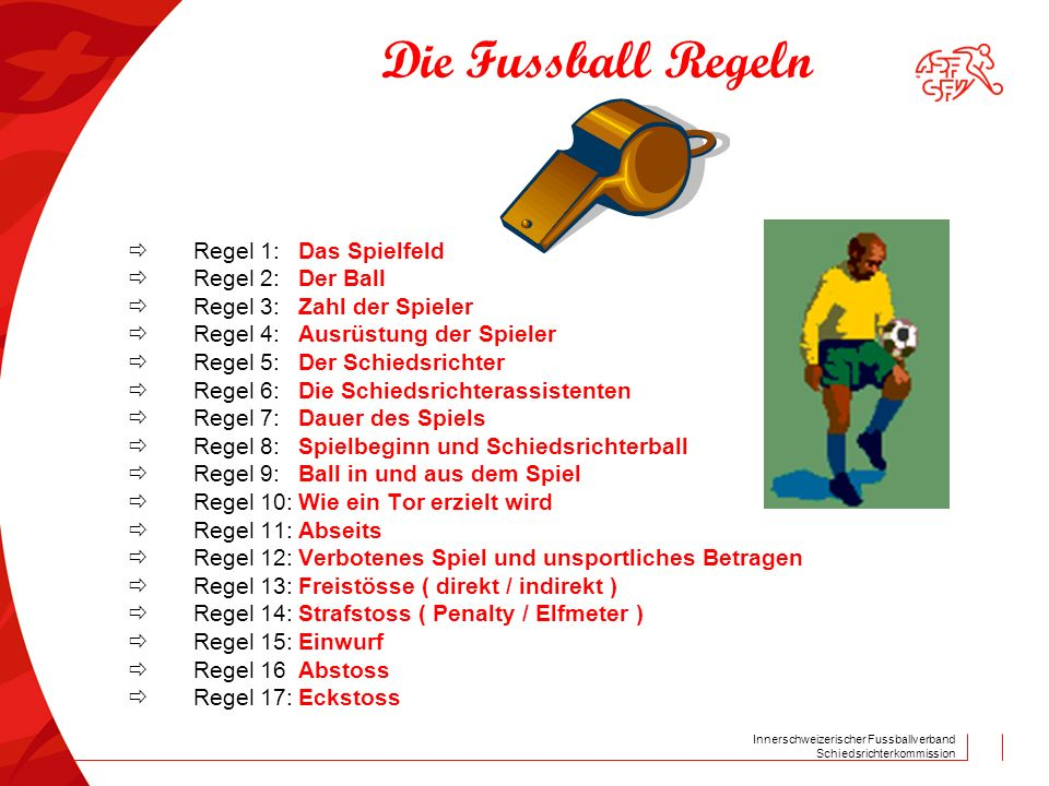 Innerschweizerischer Fussballverband Schiedsrichterkommission Die Fussball Regeln  Regel 1:Das Spielfeld  Regel 2:Der Ball  Regel 3:Zahl der Spiele