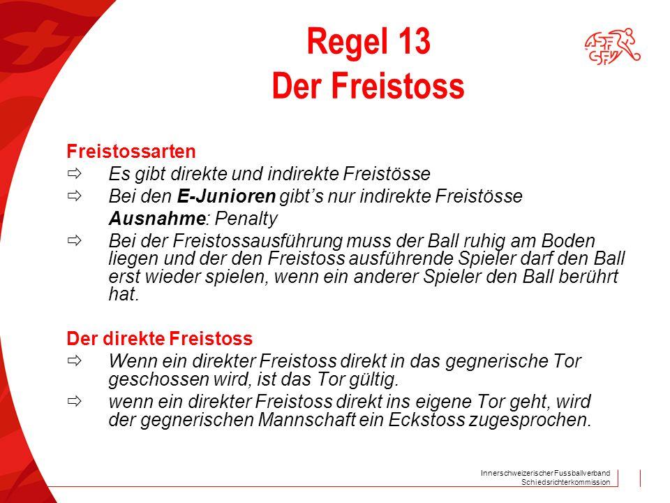 Innerschweizerischer Fussballverband Schiedsrichterkommission Regel 13 Der Freistoss Freistossarten  Es gibt direkte und indirekte Freistösse  Bei d