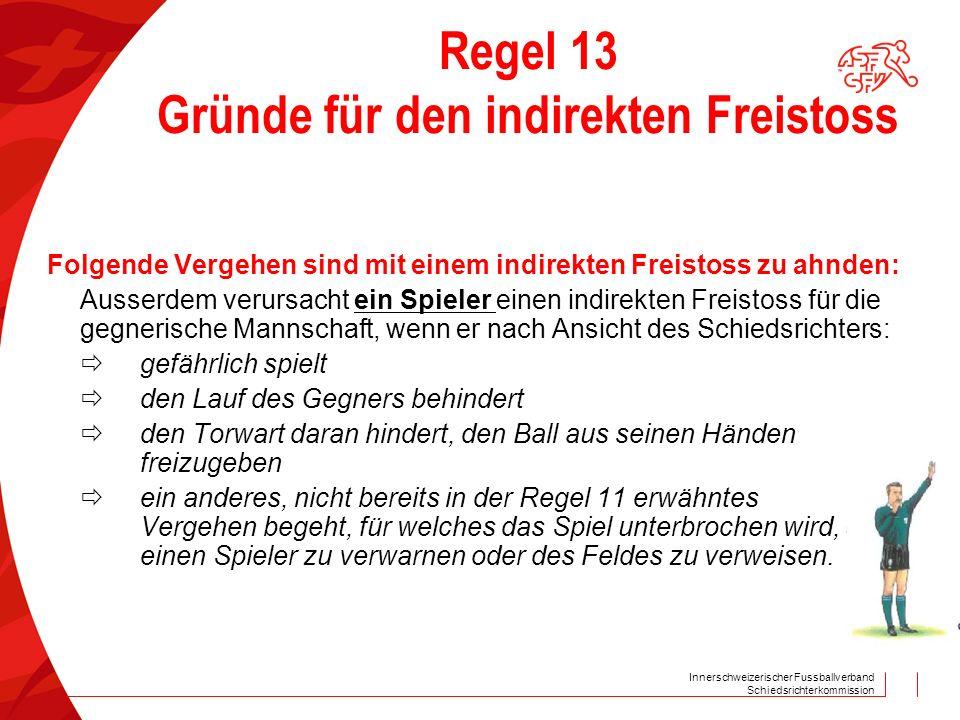 Innerschweizerischer Fussballverband Schiedsrichterkommission Regel 13 Gründe für den indirekten Freistoss Folgende Vergehen sind mit einem indirekten