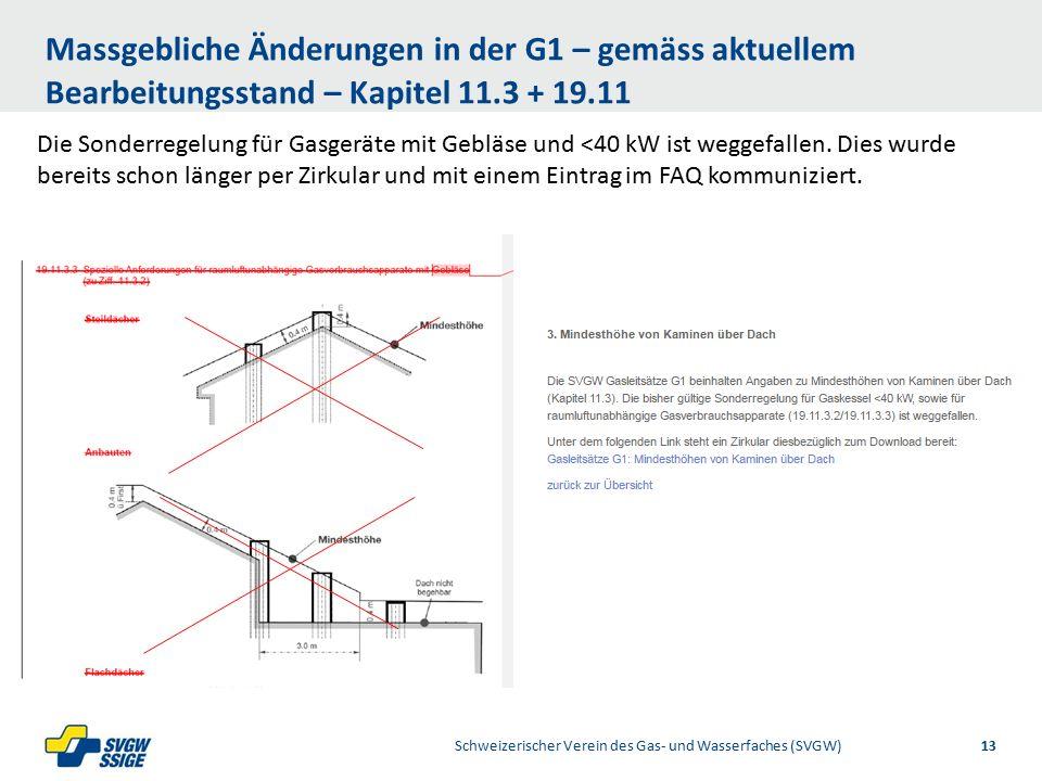 1/32/31/2Right11.60Left 11.601/2 7.60 Placeholder 6.00 6.80 Placeholder title Placeholder Top 9.20 Bottom 9.20 Center 0.80 1/4 3/4 Massgebliche Änderungen in der G1 – gemäss aktuellem Bearbeitungsstand – Kapitel 11.3 + 19.11 Schweizerischer Verein des Gas- und Wasserfaches (SVGW)13 Die Sonderregelung für Gasgeräte mit Gebläse und <40 kW ist weggefallen.