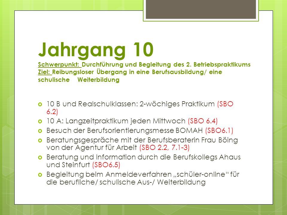 Jahrgang 10 Schwerpunkt: Durchführung und Begleitung des 2. Betriebspraktikums Ziel: Reibungsloser Übergang in eine Berufsausbildung/ eine schulische