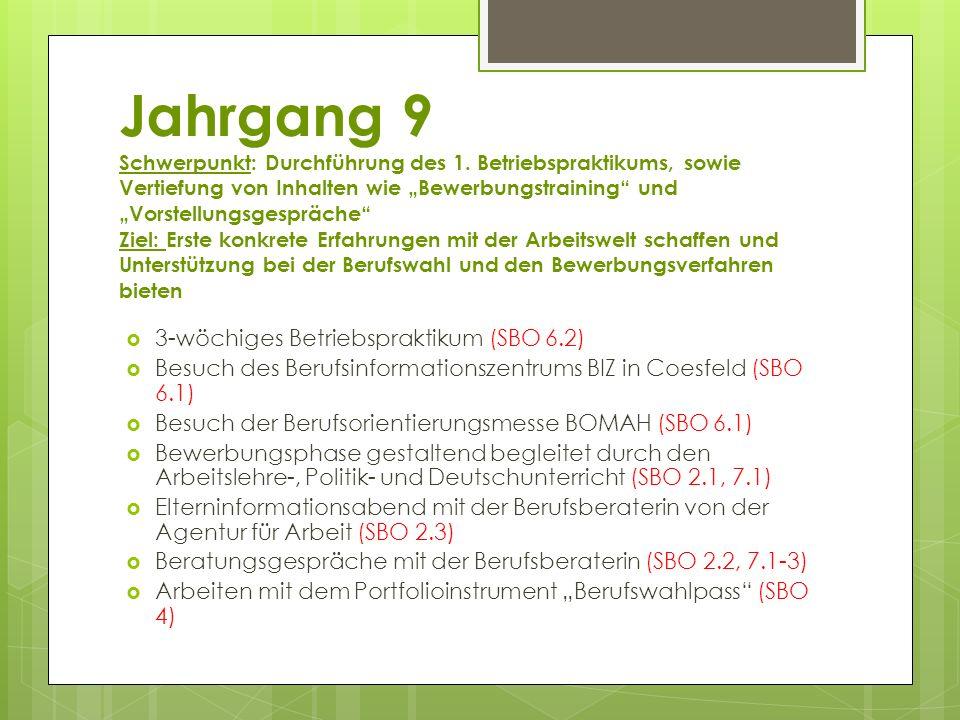 """Jahrgang 9 Schwerpunkt: Durchführung des 1. Betriebspraktikums, sowie Vertiefung von Inhalten wie """"Bewerbungstraining"""" und """"Vorstellungsgespräche"""" Zie"""