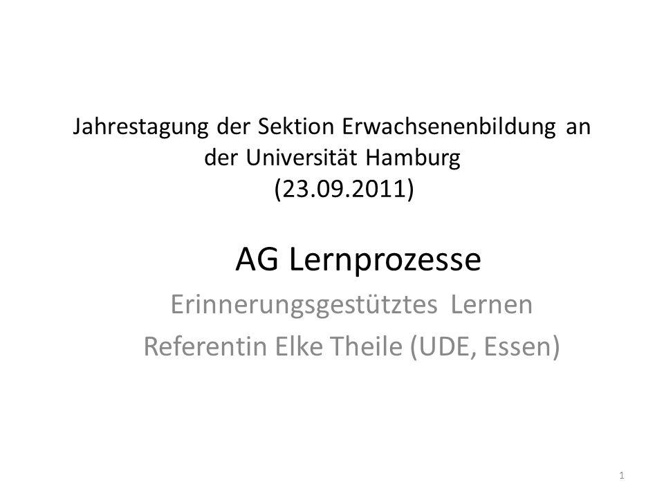 Jahrestagung der Sektion Erwachsenenbildung an der Universität Hamburg (23.09.2011) AG Lernprozesse Erinnerungsgestütztes Lernen Referentin Elke Theil