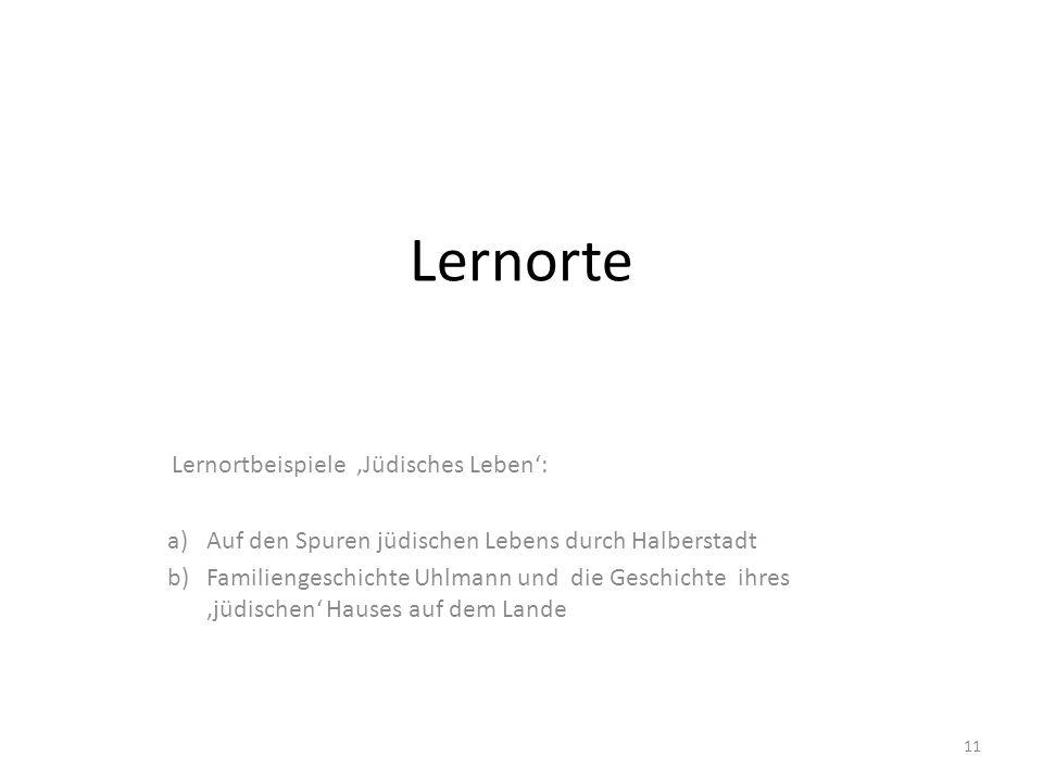 Lernorte Lernortbeispiele 'Jüdisches Leben': a)Auf den Spuren jüdischen Lebens durch Halberstadt b)Familiengeschichte Uhlmann und die Geschichte ihres