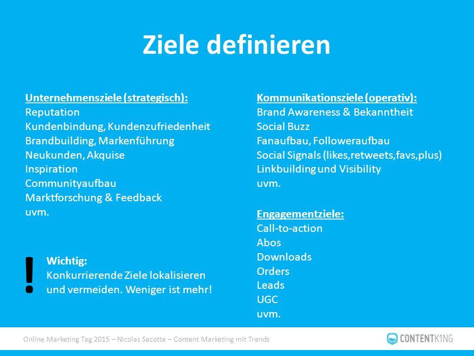 Online Marketing Tag 2015 – Nicolas Sacotte – Content Marketing mit Trends Ziele definieren Unternehmensziele (strategisch): Reputation Kundenbindung,