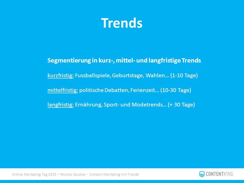 Online Marketing Tag 2015 – Nicolas Sacotte – Content Marketing mit Trends Trends Segmentierung in kurz-, mittel- und langfristige Trends kurzfristig: