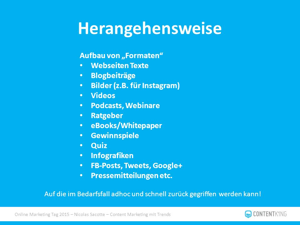 """Online Marketing Tag 2015 – Nicolas Sacotte – Content Marketing mit Trends Herangehensweise Aufbau von """"Formaten"""" Webseiten Texte Blogbeiträge Bilder"""