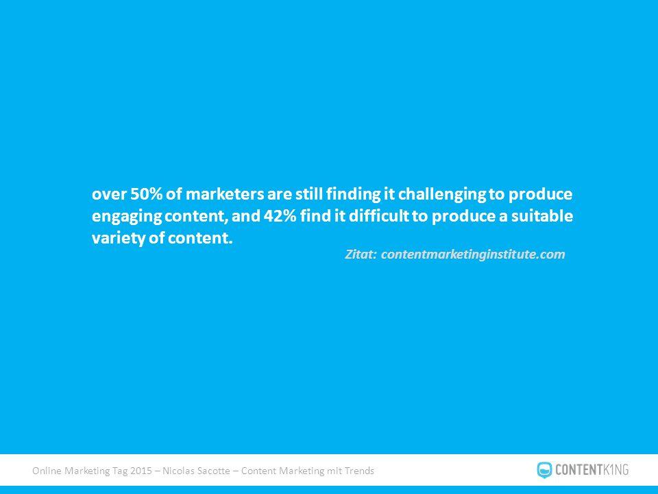 """Online Marketing Tag 2015 – Nicolas Sacotte – Content Marketing mit Trends Herangehensweise Aufbau von abrufbaren """"Ressourcen Designer Programmierer Texter Influencer, Multiplikatoren etc."""