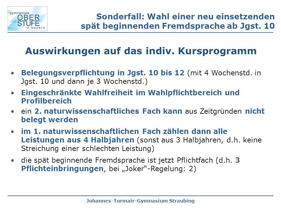 Johannes-Turmair-Gymnasium Straubing Sonderfall: Wahl einer neu einsetzenden spät beginnenden Fremdsprache ab Jgst. 10 Auswirkungen auf das indiv. Kur