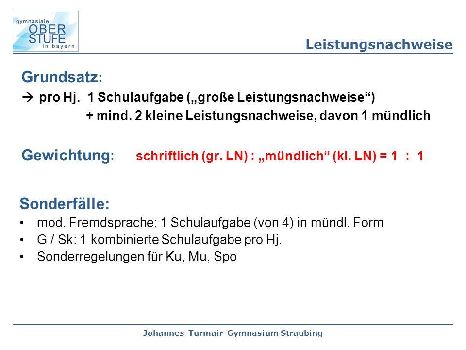 """Johannes-Turmair-Gymnasium Straubing Grundsatz :  pro Hj. 1 Schulaufgabe (""""große Leistungsnachweise"""") + mind. 2 kleine Leistungsnachweise, davon 1 mü"""