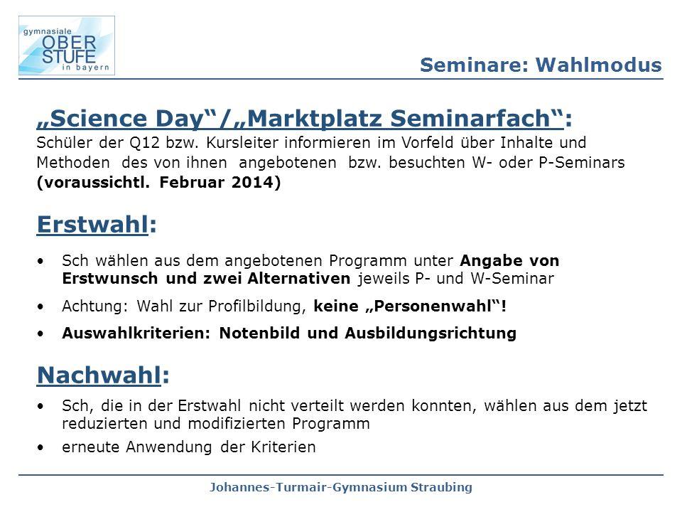 """Johannes-Turmair-Gymnasium Straubing """"Science Day""""/""""Marktplatz Seminarfach"""": Schüler der Q12 bzw. Kursleiter informieren im Vorfeld über Inhalte und M"""