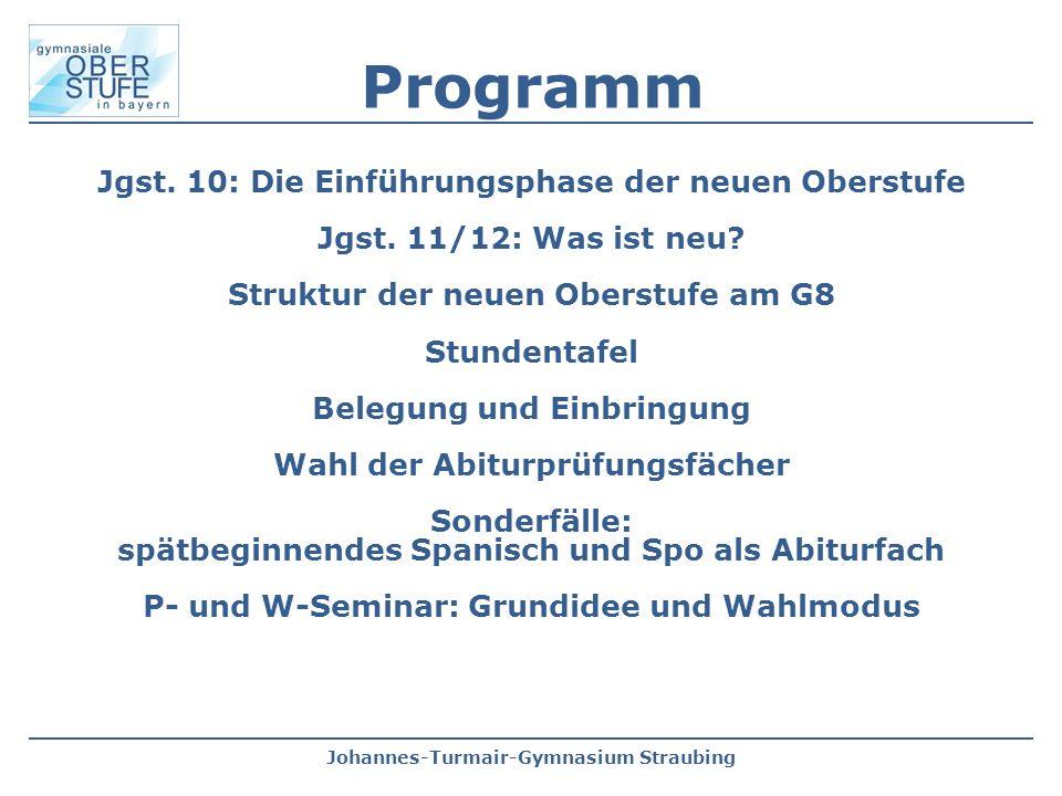 Johannes-Turmair-Gymnasium Straubing Programm Jgst. 10: Die Einführungsphase der neuen Oberstufe Jgst. 11/12: Was ist neu? Struktur der neuen Oberstuf